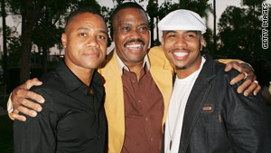Actors Cuba Gooding Sr., center, with his sons Cuba Gooding Jr., left, and Omar Gooding.