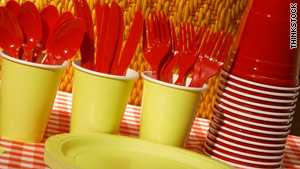 Some plastic forks and plates can be recycled, but not all.