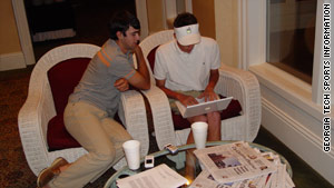 Georgia Tech golfing teammates Cameron Tringale and Chesson Hadley study while on the road.