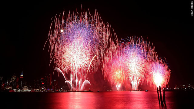 New York City puts on a spectacular fireworks show over the Hudson River in 2009.