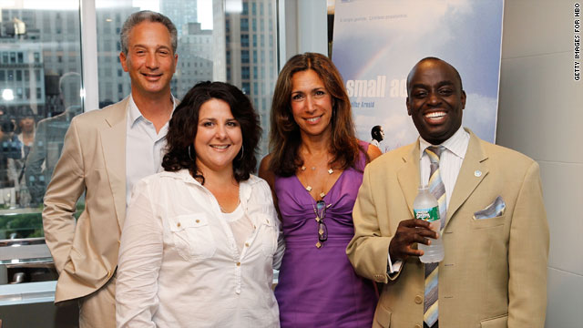 (L-R) Producer Jeffrey Soros; director/producer Jennifer Arnold; Lana Iny of HBO; and U.N. Acting Coordinator of the Anti-Discrimination Section Chris Mburu attend the film's screening in New York on July 8.