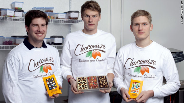 From left, Eric Heinbockel, Nick LaCava and Fabian Kaempfer incorporated Chocomize in August 2009.