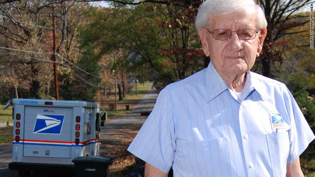 At 91, Morris Wilkinson of Birmingham, Alabama, continues to work each day at the post office, sorting and delivering mail.