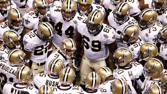 The New Orleans Saints chant as they huddle up prior to playing against the Minnesota Vikings at the Superdome.