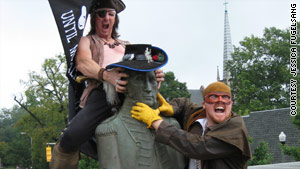 """Pirate Bob,"" left, and ""Captain Drew"" let Commodore Decatur know how they feel about his anti-pirate activities."