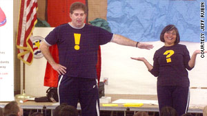 Jeff Rubin and Norma Martinez-Rubin visit schoolchildren for a punctuation workshop.