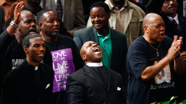 New Birth members cheer Bishop Eddie Long Sunday. But will they continue to cheer him in the days ahead?