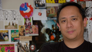 Geek A Week artist and creator Len Peralta at home in his studio.