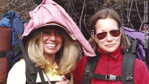 Tina Sloan, left, and Patti Malcolm on their climb of Mount Kilimanjaro