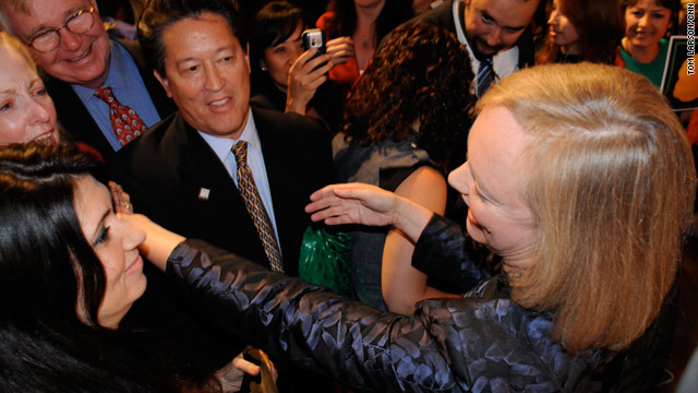 GOP candidate Meg Whitman reaches out to supporters after ending  her run for governor of California on Tuesday evening.