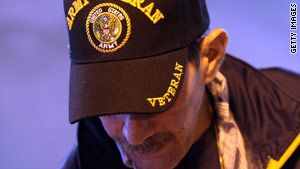 U.S. Army veteran Sean Balenti attends a veterans event in San Francisco, California, on Wednesday.