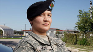 Victoria Olmo is a veteran of the Iraq war. She was injured in combat and has been deemed nondeployable.