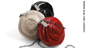 Valentino's rose handbags can convert into clutches with the removal of the chain link strap.