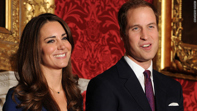 Britain's Prince William and his fianc�e Kate Middleton pose for photographers earlier this month.