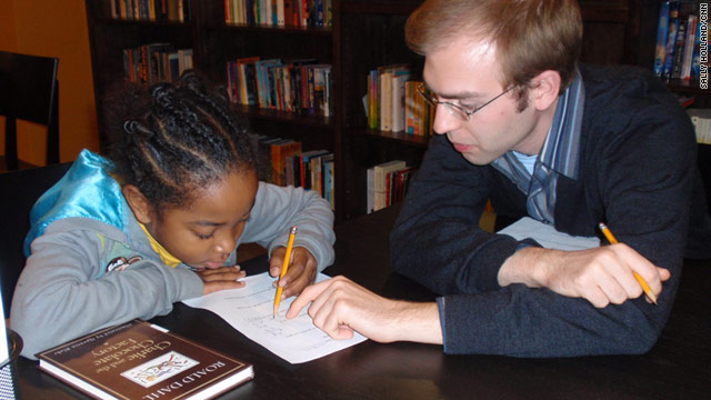 Janea Green, 10, works with volunteer Matt Lemanski at 826DC in the Columbia Heights neighborhood.