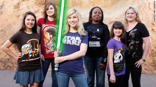 Ashley Eckstein, center, shows off some of the clothing from the Her Universe line.