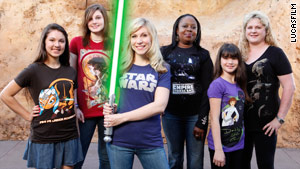 "Ashley Eckstein, center, the voice of Ahsoka on ""Star Wars: The Clone Wars,"" sent Katie some girl-friendly gear."