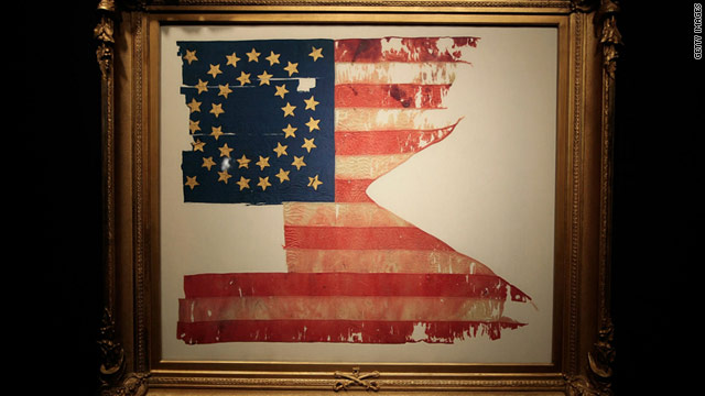 This flag was found beneath the body of a 7th Cavalry soldier killed in the 1876 Battle of Little Bighorn.