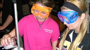 Payton Dennis and Allyson Marcell work in the chemistry lab at Terrebonne High School in Houma, Louisiana.