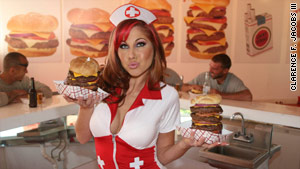 Heart Attack Grill's naughty nurses deliver delicious treats.