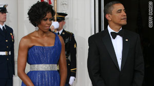 The sparkly blue gown is not the first Peter Soronen dress that Michelle Obama has worn.