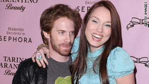 Actors Seth Green and Clare Grant attend an event in Hollywood in February.