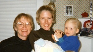 Kristin van Ogtrop with her young son and her mother.