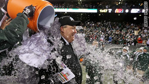 New York Jets players dump Gatorade on coach Rex Ryan to celebrate beating Cincinnati Bengals last week.