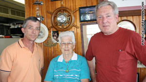 Bob Pope, far right, works at the Yardarm Restaurant with his mother, Dorothy, and nephew, Adam.