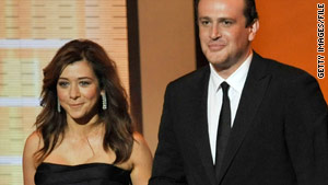 "Actors Alyson Hannigan and Jason Segel who play Lily and Marshall on ""How I Met Your Mother."""
