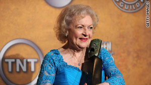 Betty White with her Life Achievement Award at January's 16th Annual Screen Actors Guild Awards.