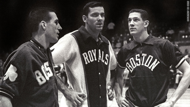 From left, Larry Siegfried, Jerry Lucas, and John Havlicek were college championship teammates who were photographed October 17, 1963, in the Cincinnati Gardens as members of pro basketball teams.