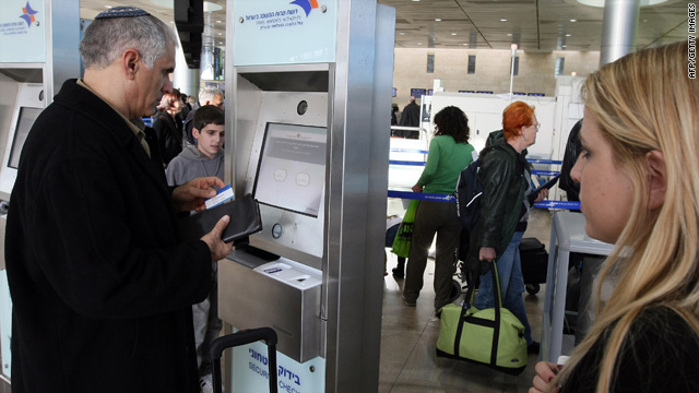 Passenger checks in at Israel's Ben-Gurion International Airport near Tel Aviv.