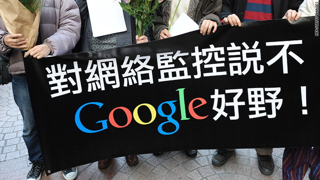 "Google users in Hong Kong hold a banner saying, ""Say no to Internet censorship: Google, well done!"""
