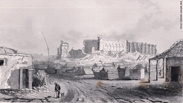 A sketch shows the ruins of the cathedral at Concepción after the 1835 quake in Chile.