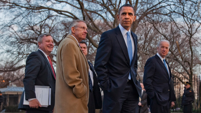 President Obama walks with Senate Majority Whip Richard Durbin, Senate Majority Leader Harry Reid and Vice President Joseph Biden as they return to the White House after health summit.
