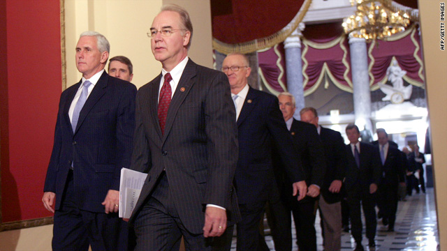 Republican lawmakers arrive at the House chamber Sunday to vote on the health care legislation.
