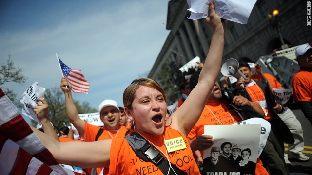 "Vera Russildi and other protesters participate in a ""March For America"" in Washington, D.C., calling for immigration reform."