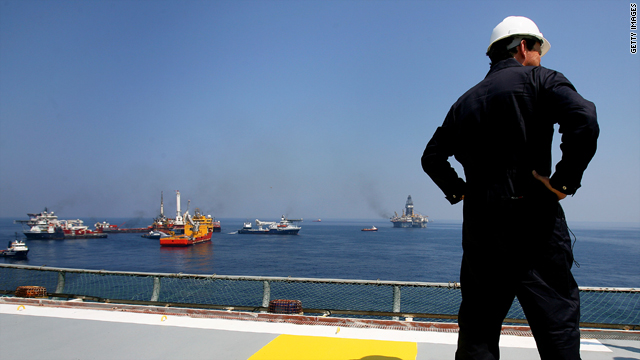 BP CEO Tony Hayward stands on the deck of the helipad of the Discover Enterprise drill ship during recovery operations May 28.