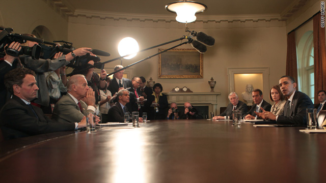 President Obama meets with Congressional leadership in the Cabinet Room of the White House on April 14.