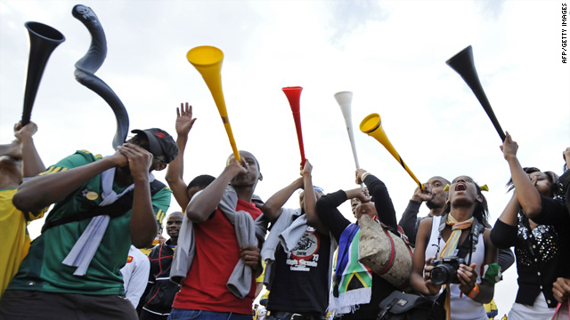 Fans play the vuvuzela at South Beach in Durban, South Africa, on June 11, the first day of the 2010 World Cup tournament.