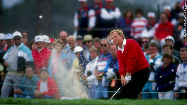 Jack Nicklaus hits a shot out of the bunker at the 1992 U.S. Open at Pebble Beach, California.