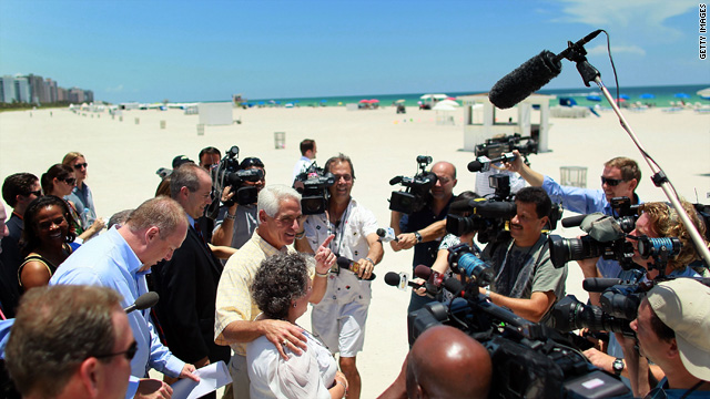 Gov. Charlie Crist speaks to the media, seeking to reassure tourists that Miami Beach is free of oil, on June 14.