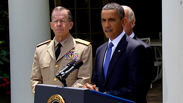 President Obama, joined by Adm. Mike Mullen of the Joint Chiefs of Staff, announces he is replacing Gen. McChrystal.