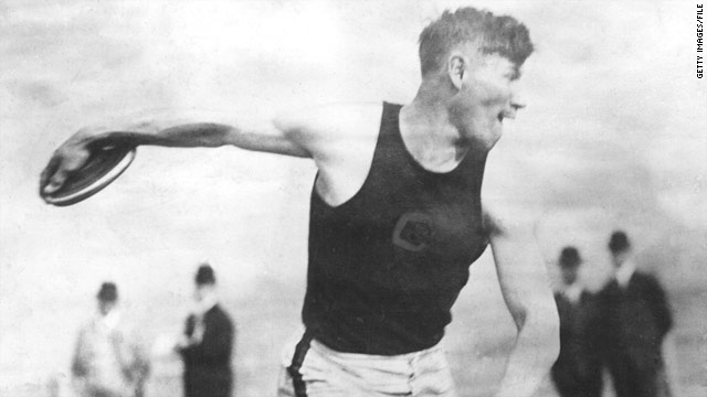 Jim Thorpe throws the discus on his way to winning both the pentathlon and decathlon at the 1912 Olympic Games  in Stockholm.