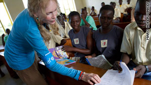 Mia Farrow visits a Ugandan school that has many students who had been abducted by the Lords Resistance Army.