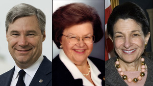 Sen. Sheldon Whitehouse, from left, Sen. Barbara Mikulski and Sen. Olympia Snowe.