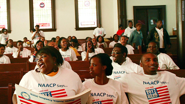 "College students on the NAACP's ""Vote Hard"" bus tour visit Brown Chapel AME Church in Selma, Alabama, in 2008."