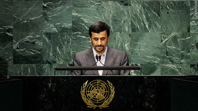 Iranian President Mahmoud Ahmadinejad pauses before addressing the Millennium Development Goals summit in New York.