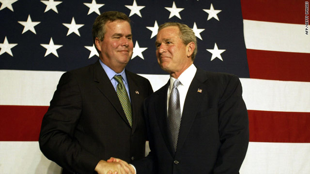 George W. Bush shakes hands with his brother Jeb during a fund-raising event in Florida, in January 2004.
